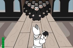 Jeu bowling avec un moine