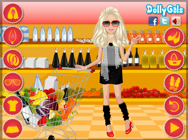 jeu de fille dans un supermarche