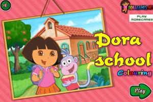 Coloriage de Dora à l'école