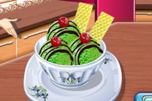 Jeu de glace au thé et au chocolat